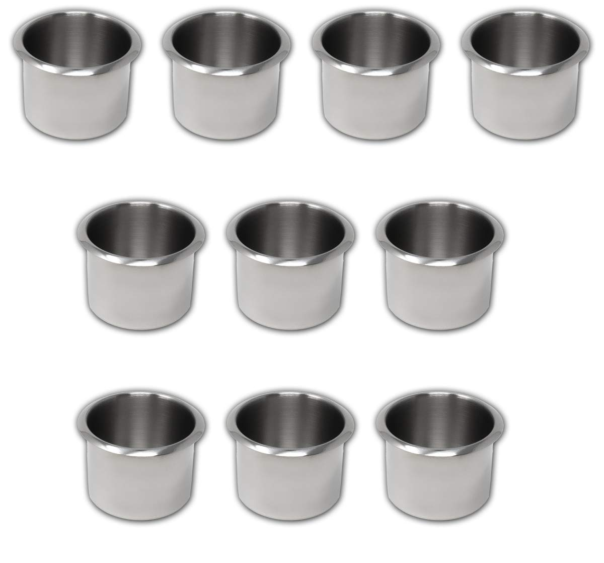 DA VINCI Lot of 10 Drop in Stainless Steel Poker Table Cup Holders, Fits Standard Soda Can or Beer Bottle