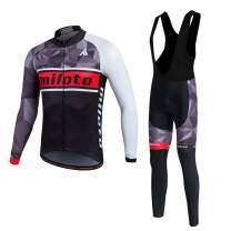 MILOTO Men's Cycling Jersey Black Bib Pants Set Long Sleeve Biking Suits
