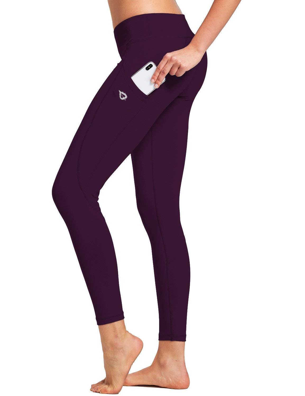 "BALEAF Women's Mid-Waist Yoga Leggings Side Pockets 28"" Workout Running Athletic Pants (XS-2X)"