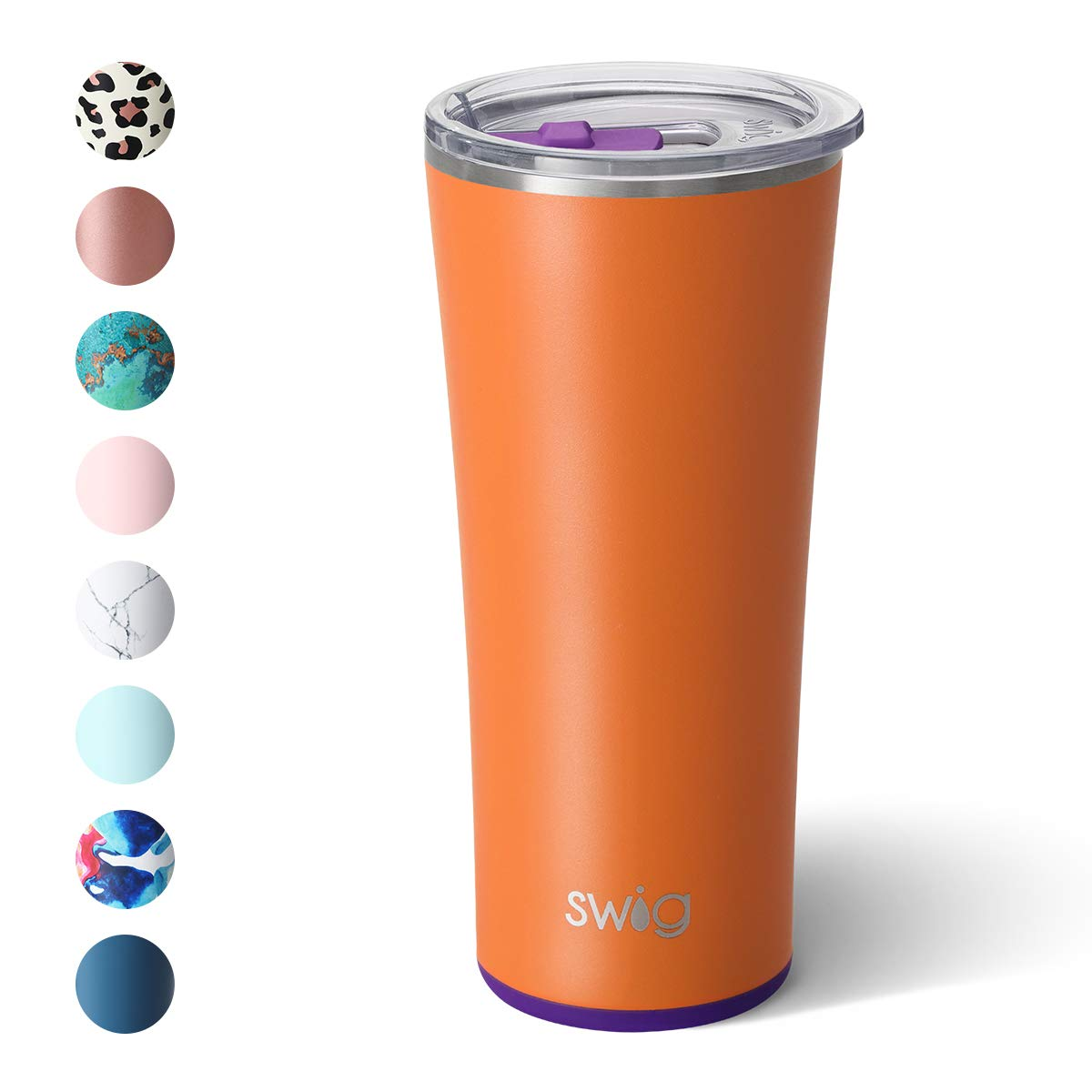 Swig Life 22oz Triple Insulated Stainless Steel Skinny Tumbler with Lid, Dishwasher Safe, Double Wall, Vacuum Sealed Travel Coffee Tumbler in Matte Orange/Purple Print (Multiple Patterns Available)