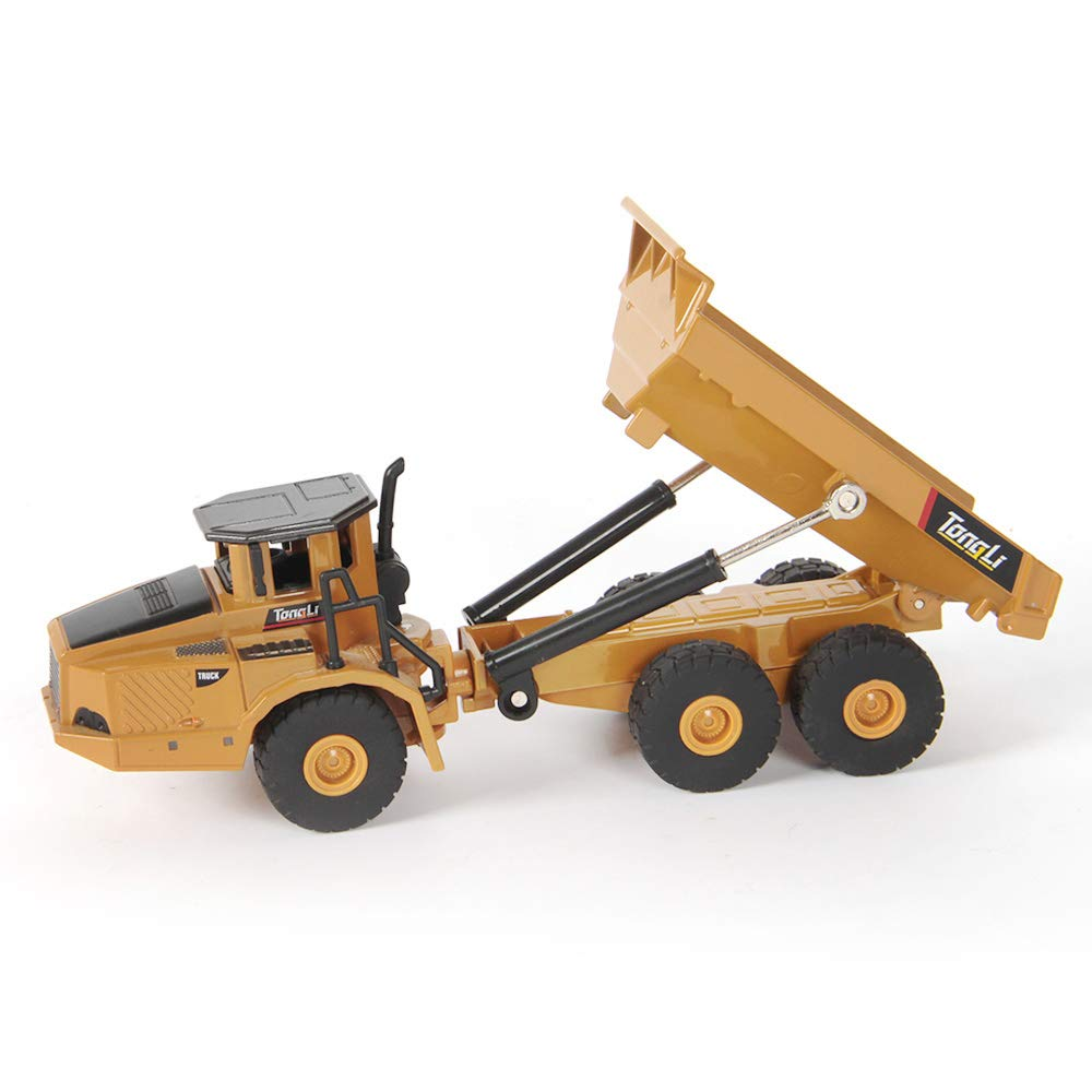 TongLi 7712 Indoor 1:50 Static Metal Dump Truck Toy Small Diecast Construction Vehicles for Toddlers and Adults Zinc Alloy Tipper Bucket, Rubber Tyres, Well Workmanship for Decoration and Collection