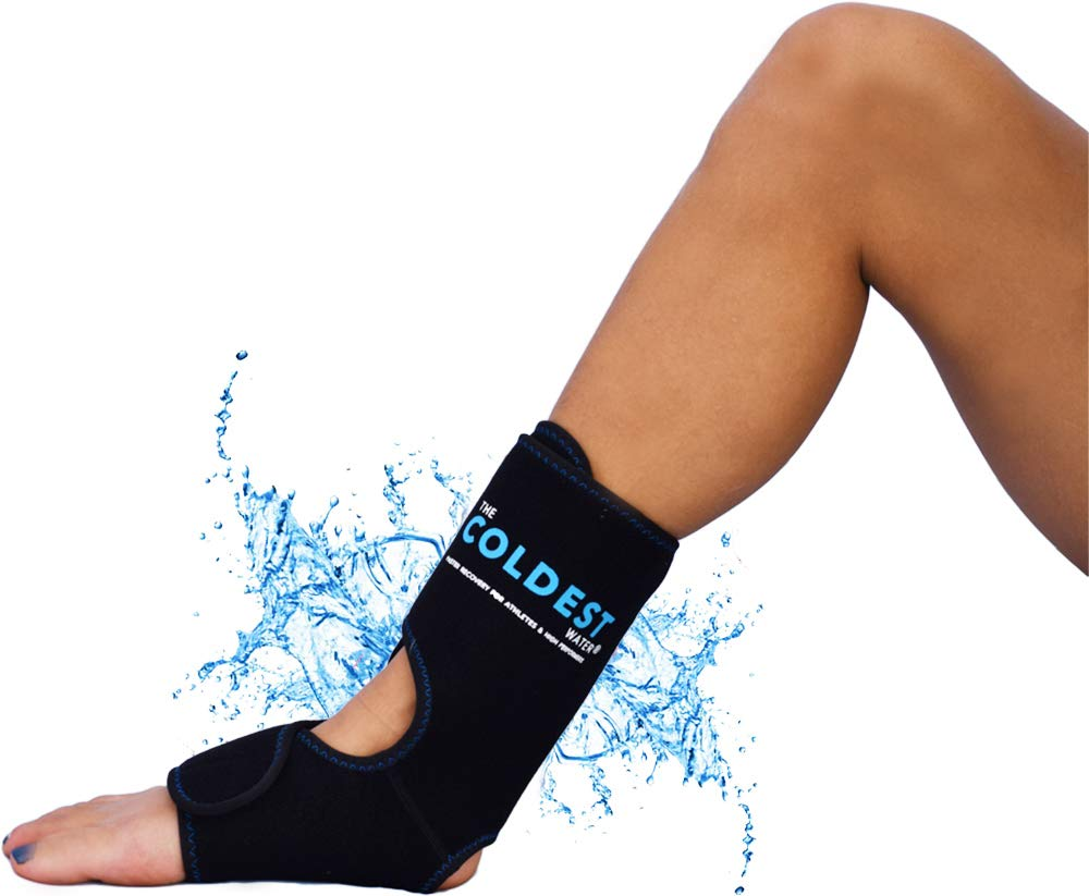 The Coldest Foot Ankle Achilles Pain Relief Ice Wrap with 2 Cold Gel Packs   Best for Achilles Tendon Injuries, Plantar Fasciitis, Bursitis & Sore Feet Built for Cold Therapy (Black XS-XL)