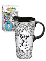 Seize the Day Just Add Color Ceramic Travel Cup - 4 x 5 x 7 Inches