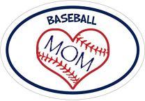 WickedGoodz Oval Baseball Mom Heart Vinyl Decal - Sports Bumper Sticker - Perfect Baseball Mom Gift