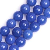 GEM-inside Natural 14mm Blue Agate Gemstone Loose Beads Round Beads for Jewelry Making 15''