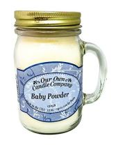 Our Own Candle Company Baby Powder Scented 13 Ounce Mason Jar Candle
