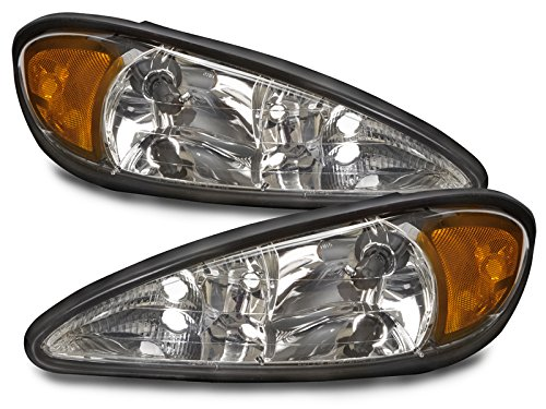 PERDE Compatible with Pontiac Grand Am Chrome Halogen Headlights With Performance Lens Headlamps Pair Set New