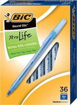BIC Round Stic Xtra Life Ballpoint Pen, Medium Point (1.0mm) -- Box of 36 Blue Pens