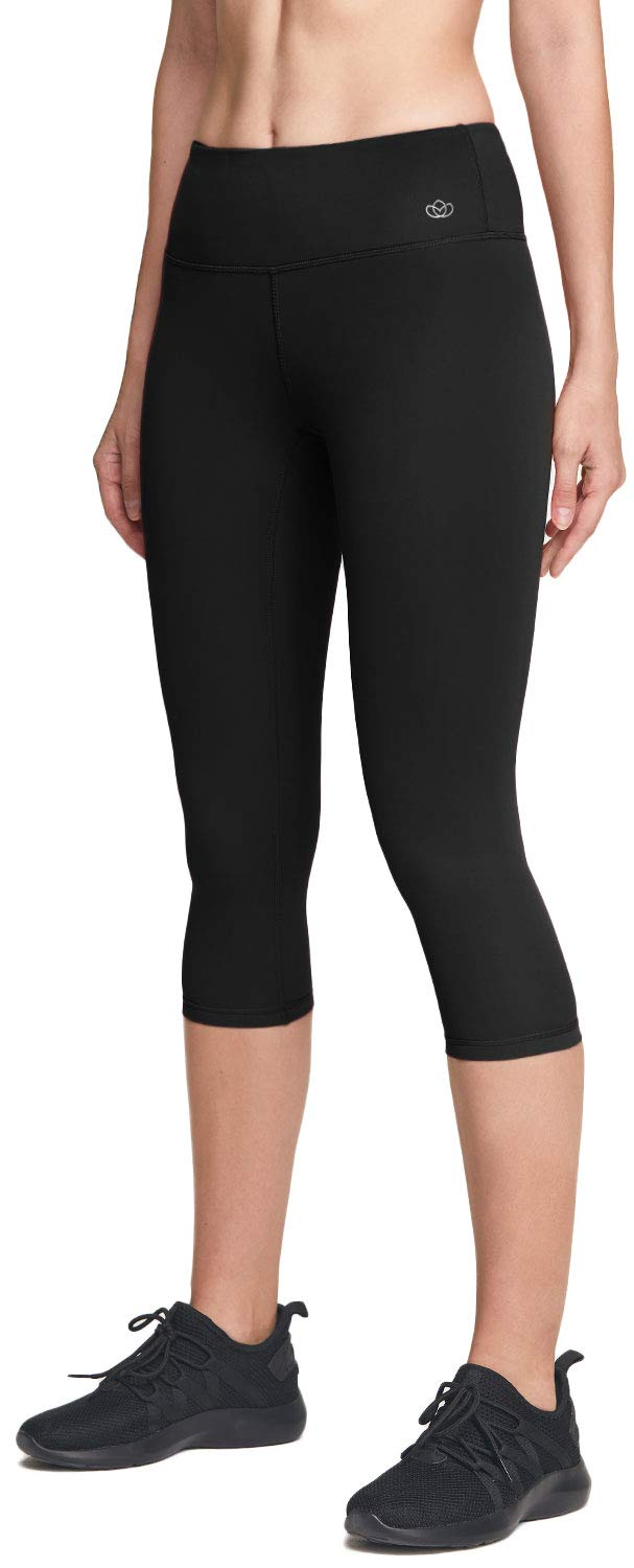 ATIKA Women's Mid/High Waist Yoga Capri Pants with Pockets, 4 Way Stretch Tummy Control Capri Leggings Tights