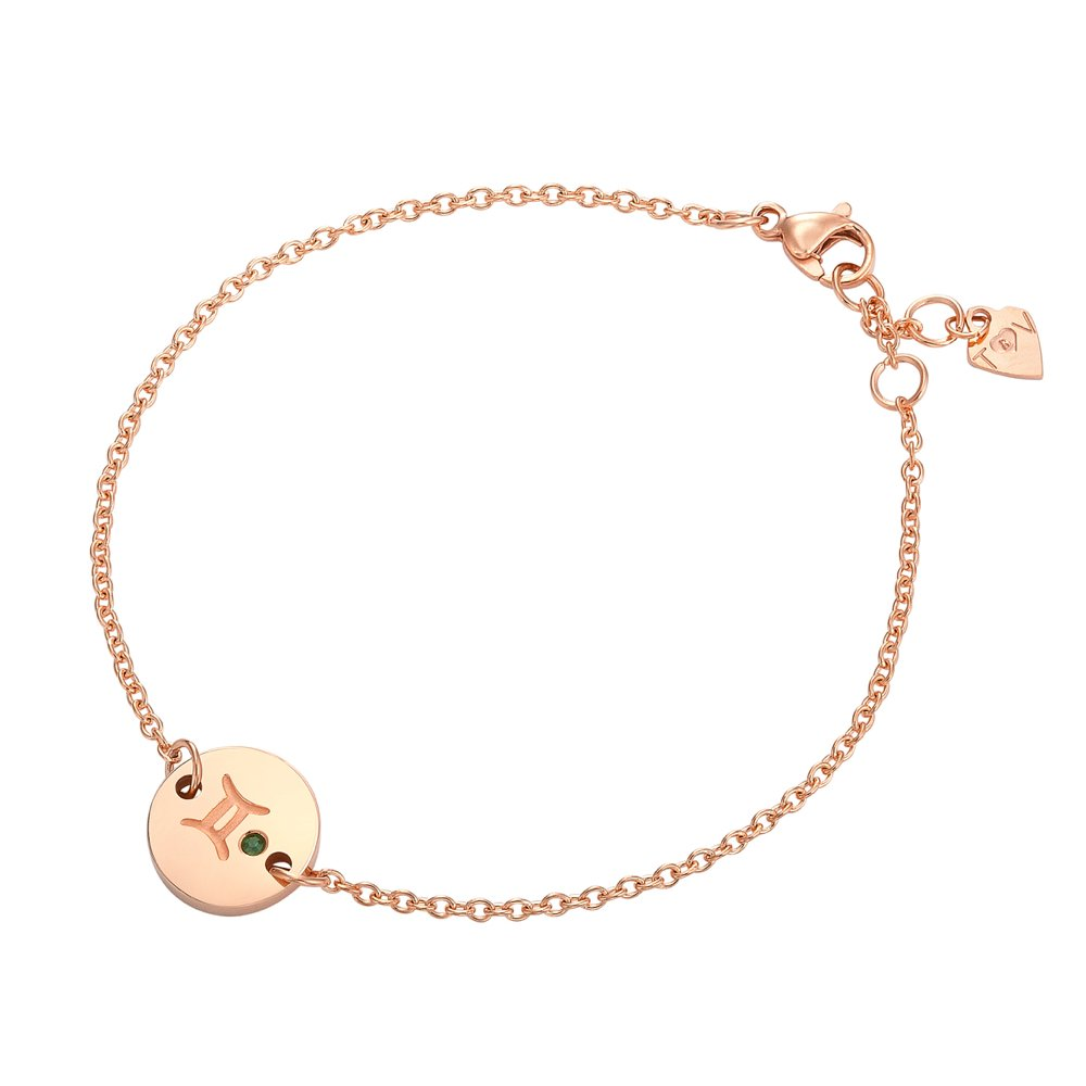 Star Signs Gemini Pendant Bracelet with CZ Gem Birth Month Stone by Taylor and Vine
