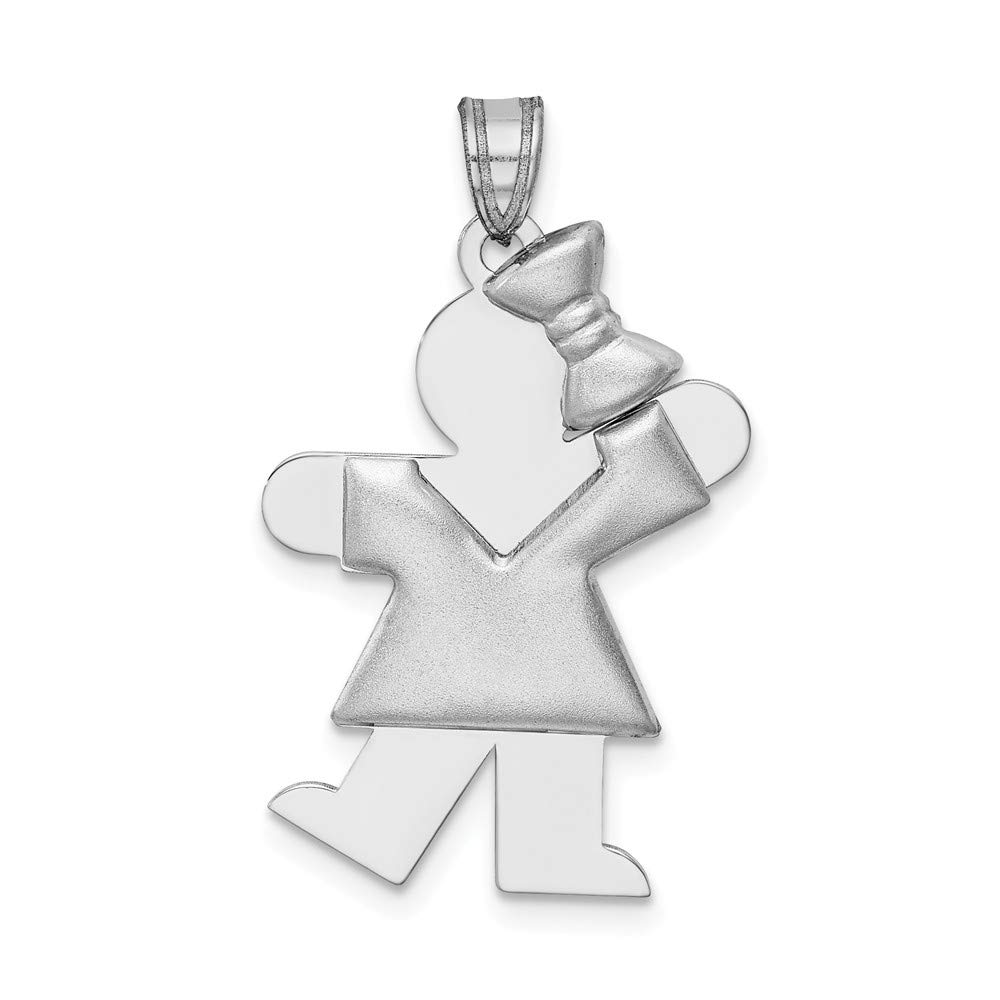14k White Gold Girl Bow On Right Engravable Pendant Charm Necklace Disc Boy Facing Fine Jewelry For Women Gifts For Her