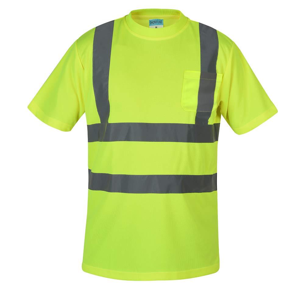 SHORFUNE Reflective Safety T Shirt Class 2 Hi Vis Short Sleeve, Yellow, XXL
