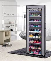ARWEI 10 Tiers Shoe Rack 30 Pairs Shoe Storage Organizer Cabinet Tower with Dustproof Cover Shoe Closet,Non-Woven Fabric Shoe Rack. (Gray)