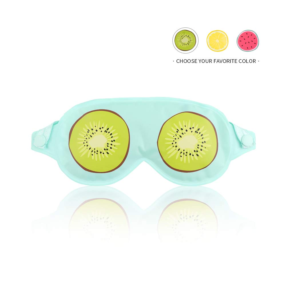 Ice Eye Mask Cold Eye Mask for Puffy Eyes, Reusable Cooling Gel Eye Mask with Soft Smooth Material for Relaxing Sleep, Hot or Cold Spa, Soothing Dry Eyes, Dark Circles, Migraines - Kiwi