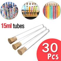 Rolin Roly 30pcs 15ml Transparent Plastic Test Tubes with Cork Stoppers Round Bottom Test Tube for Candy Storage and Decorate House