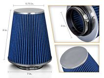 """BLUE 4"""" 102mm Inlet Truck Air Intake Cone Replacement Quality Dry Air Filter"""