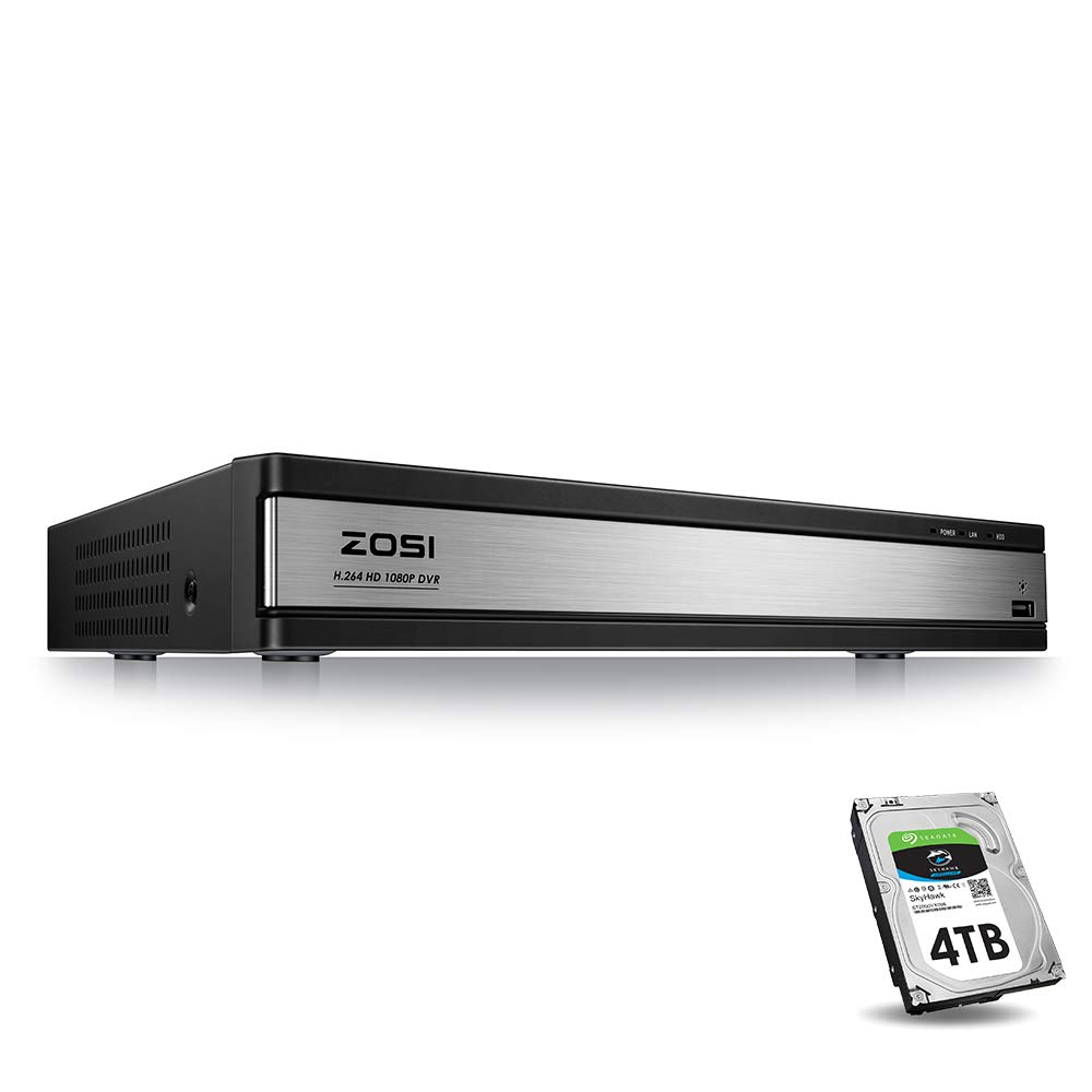 ZOSI Full 1080p HD 16 Channel Security DVR Recorder, H.264 Hybrid 4-in-1 TVI DVR Surveillance System(Analog/AHD/TVI/CVI),Motion Detection,Mobile Remote Control,Email Alarm,4TB Hard Drive