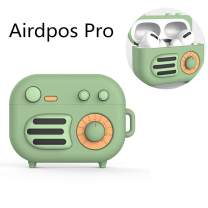 Protective Soft Silicone Cartoon Radio Funny Case for AirPods Pro Cute Fashion Shockproof Cool Design Skin Case with Ring Carabiner(Green)
