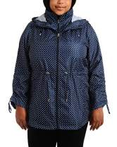 Details Women's Plus Size Packable Anorak Jacket, Stormy Night/White Hot, 1X