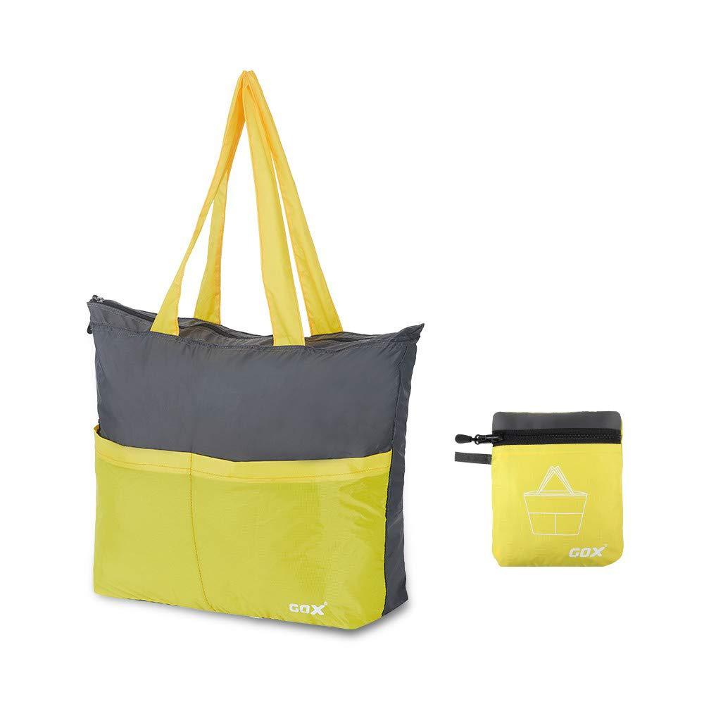 GOX Tote Bag Lightweight Beach Duffle Bag Premium Shopping Bag Ripstop Nylon Water Resistant (Yellow)