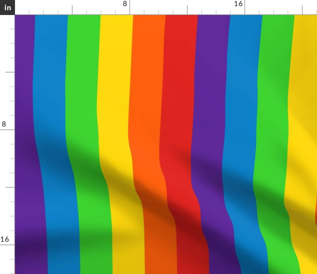 Spoonflower Fabric - Rainbow, Stripes, Vertical, 2 Inch (5.08Cm), Stripe, Rainbows, Printed on Fleece Fabric by The Yard - Sewing Blankets Loungewear and No-Sew Projects