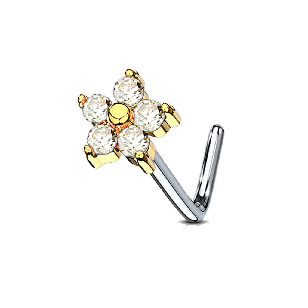 MoBody 20 Gauge Nose Ring Stud L-Shape 5 CZ Flower 316L Surgical Steel Body Piercing Jewelry (0.8mm)