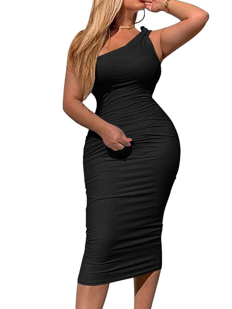 LCNBA Women's Casual Basic One Shoulder Bodycon Sleeveless Midi Club Dress