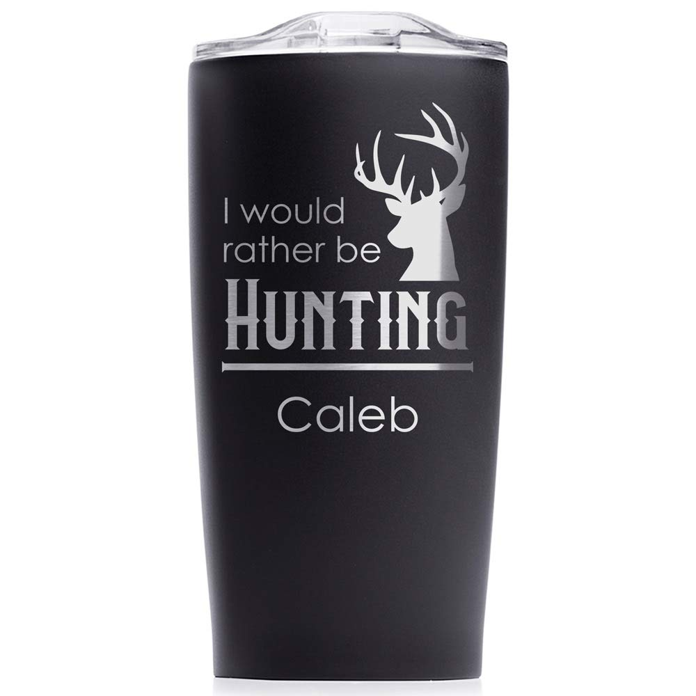 Engraved Personalized Outdoorsman Tumbler 20 oz (Matte Black): Outdoorsman Stainless Steel Travel Mug, Personalized Hunting Tumbler with Name