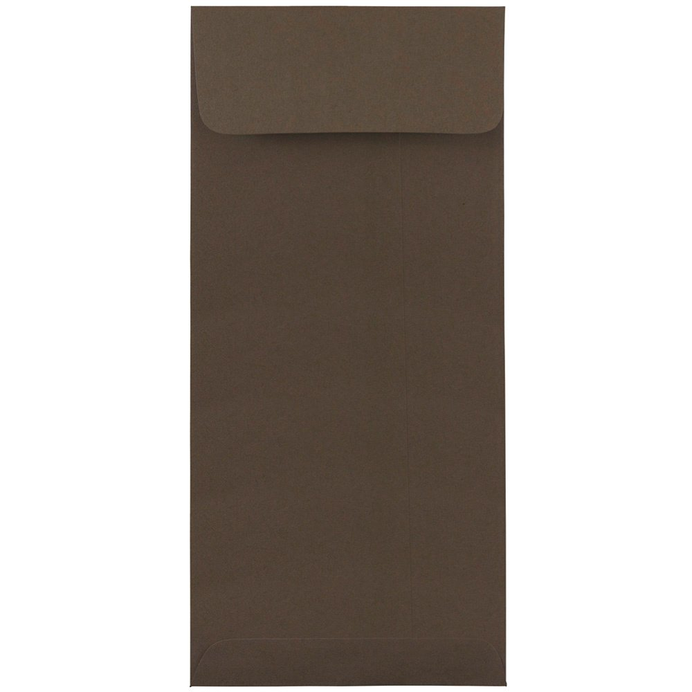 JAM PAPER #10 Policy Business Premium Envelopes - 4 1/8 x 9 1/2 - Chocolate Brown Recycled - 50/Pack