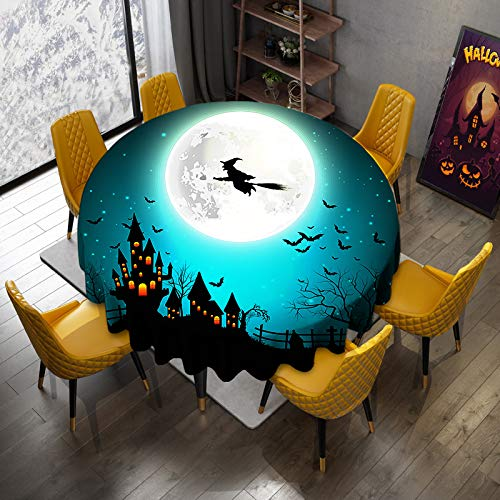 """VVA Halloween Round Tablecloth - Haunted Castle Witch Bats Twilight Gothic Spooky Art Print Orange Teal Circular Table Cloths for Table Cover Dinning Holiday Party Home Decor - Size 70"""" Inch"""