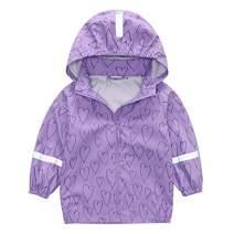 Hiheart Girls Waterproof Rain Jacket Hooded Lightweight Windbreaker