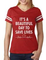 It's a Beautiful Day to Save Lives Gift for Nurse Women Football Jersey T-Shirt