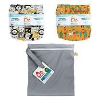 Lil Helper Reusable Swim Diapers with Waterproof Zipper Wetbag (Pack of 2) (D - Overload, Succulents, Titanium)