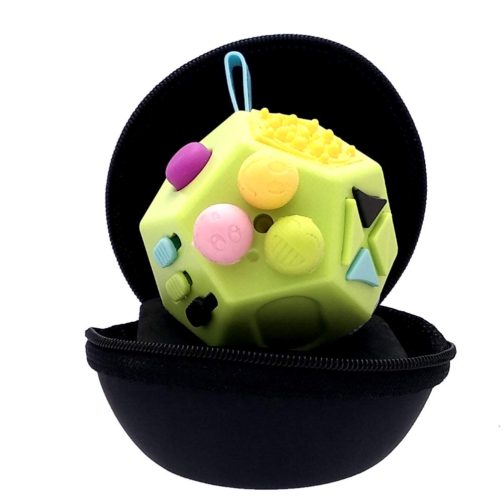 PILPOC theFube Fidget Cube - Premium Quality 12 Sides Fidget Cube Dice Dodecagon with Exclusive Carry Case, Durable, Relieve Stress and Anxiety, for ADD, ADHD, OCD (Green & Mix Colors)