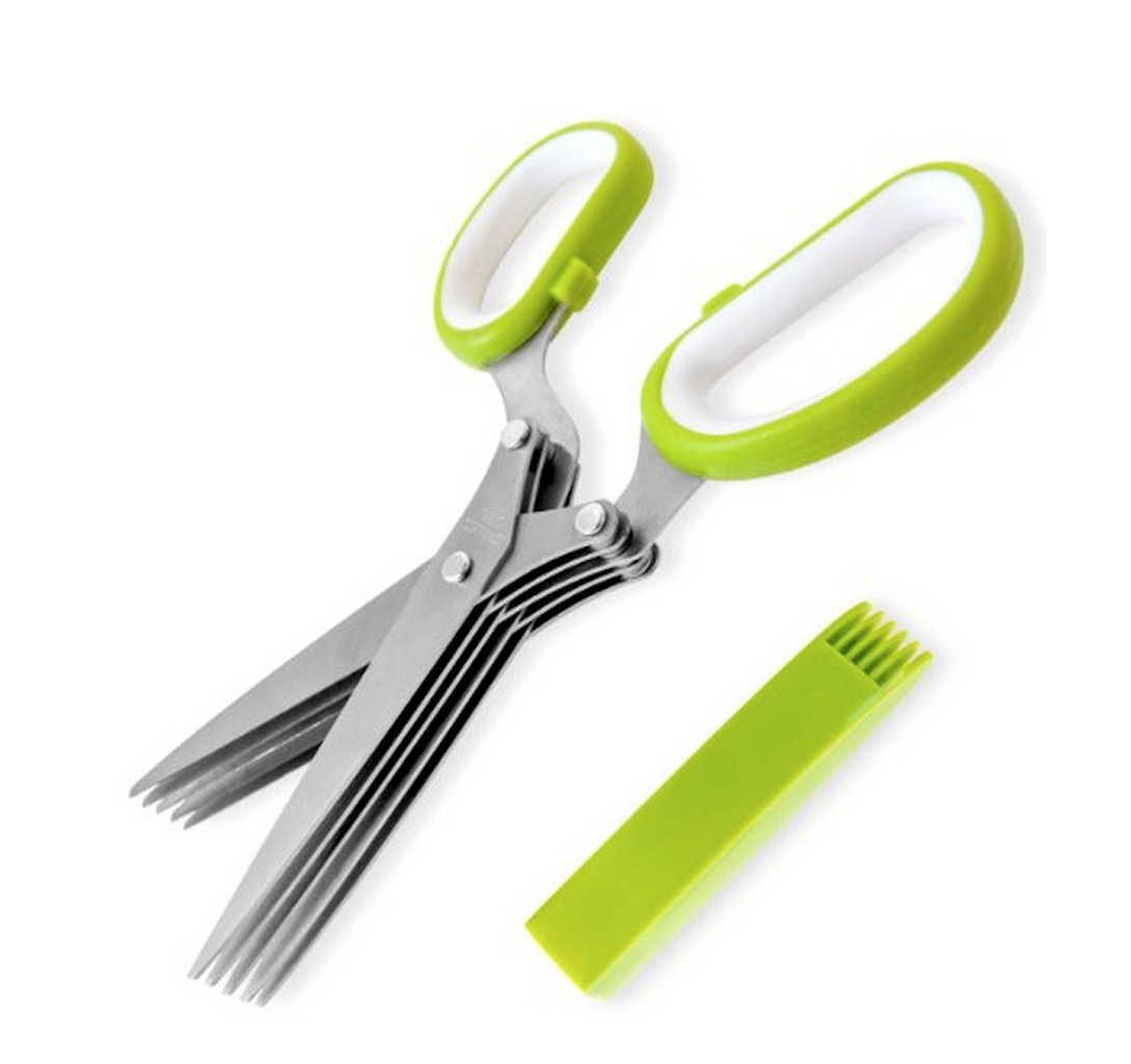 Gela SC-0282-GW Herb Scissors with 5 Blades and Safety Sleeve/Cleaning Brush, Green/White
