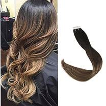 """Full Shine 16"""" 20 Pcs 50g Tape in Human Hair Extensions Highlighted Balayage Color #1b Off Black Fading to Color #6 and Color #24 Light Blonde 100% Remy Human Hair Skin Weft Hair Extension"""
