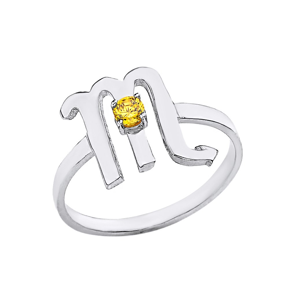 CaliRoseJewelry Sterling Silver Scorpio Zodiac Ring for Women with November Birthstone