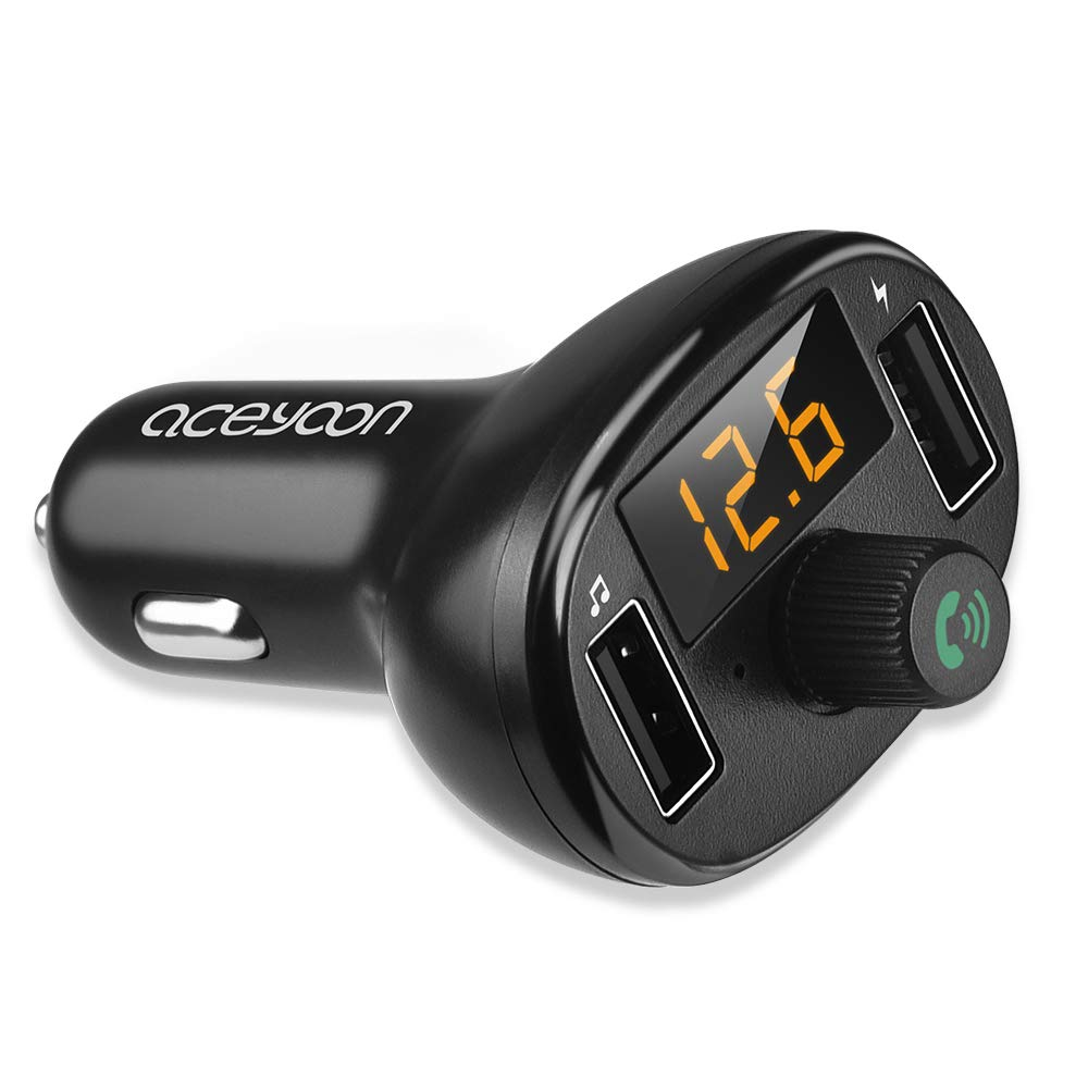 aceyoon FM Transmitter Dual USB Car Charger AM FM Transmitter Bluetooth 5.0 Max 3.4A Car Voltmeter Voltage LED Display Wireless FM Radio Receiver Car Kit for Android & iOS Devices