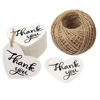 """Fathers Day Tags,100PCS Thank You Tags 2.6"""" X 2"""" Kraft Paper Gift Tags with 100 Feet Natural Jute Twine Perfect for Valentine's Day,Baby Shower,Wedding Party Favor"""
