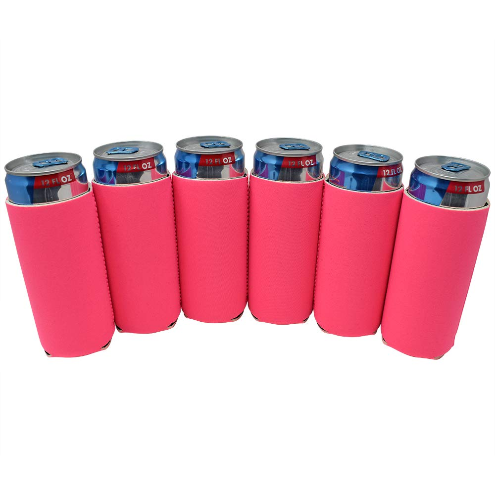 TahoeBay 6 Slim Can Sleeves - Blank Neoprene Beer Coolers – Compatible with 12oz RedBull, Michelob Ultra, White Claw Spiked Seltzer (Hot Pink, 6)