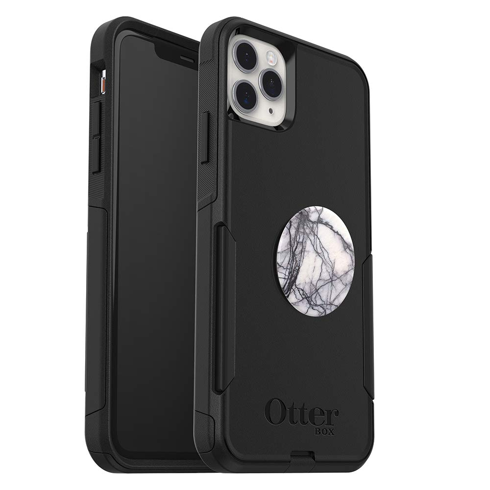 Bundle: OtterBox Commuter Series Case for iPhone 11 Pro Max - (Black) + PopSockets PopGrip - (White Marble)