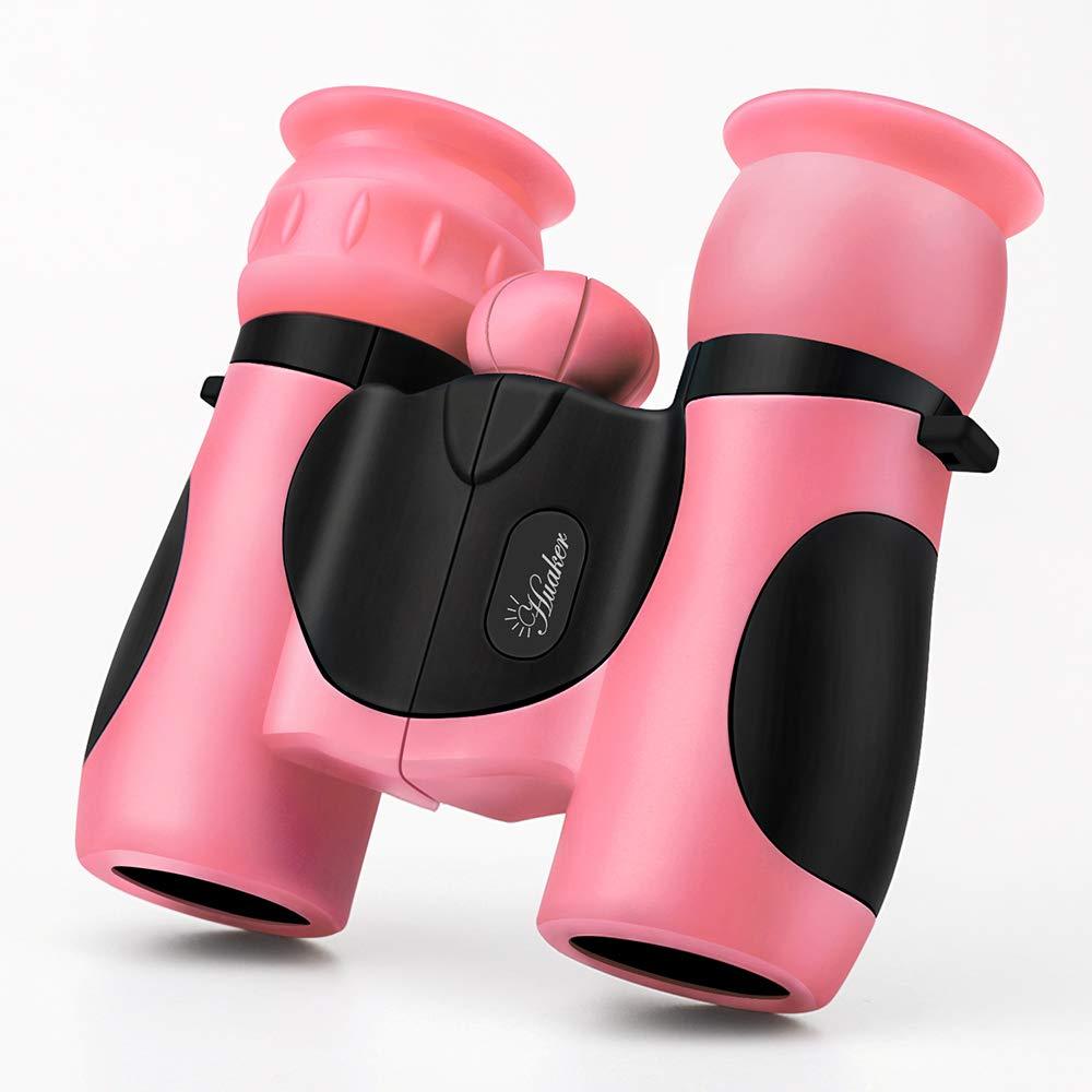Huaker Kids Binoculars 8x21 High-Resolution Real Optics Compact Binoculars Kids Toy for Boys and Girls ,Small Telescope for Kids Bird Watching, Travel, Safari, Adventure, Outdoor Fun (Pink)