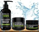 Mens Skin Care Set, Organic Skin Care for Men with Natural Face Wash, Body Wash, Exfoliating Face Scrub and Anti Aging Face Moisturizer, Our Mens Grooming Kit Refreshes Skin, Hydrates and Fights Acne