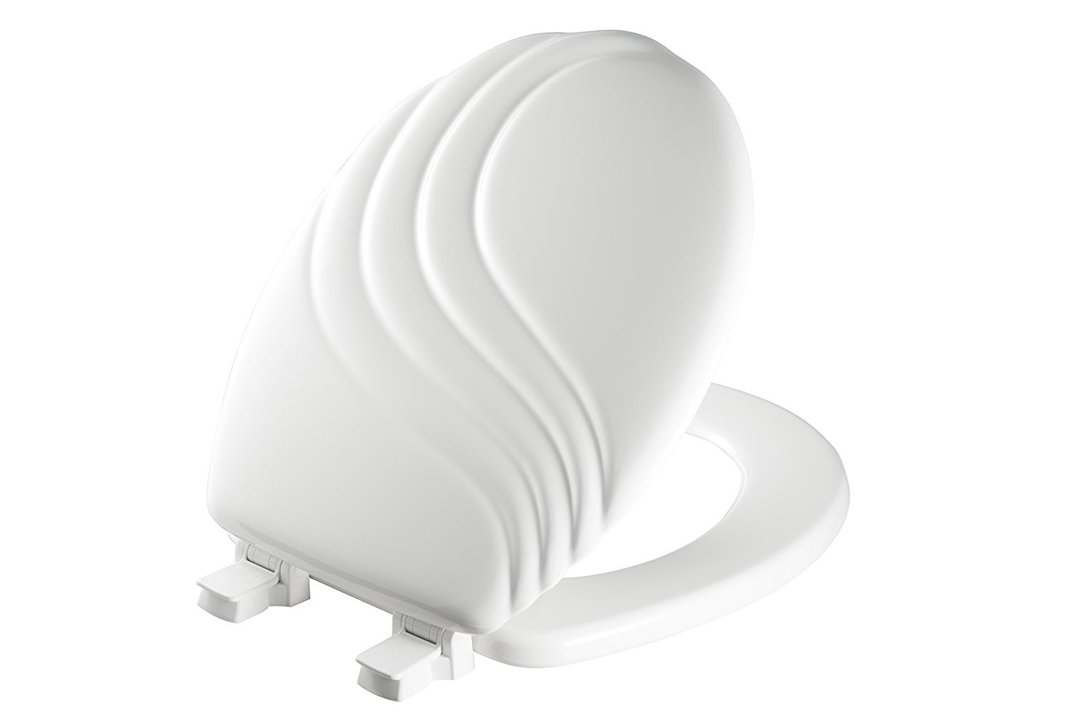 MAYFAIR 27ECA 000 Sculptured Swirl Toilet Seat will Never Loosen and Easily Remove, ROUND, Durable Enameled Wood, White