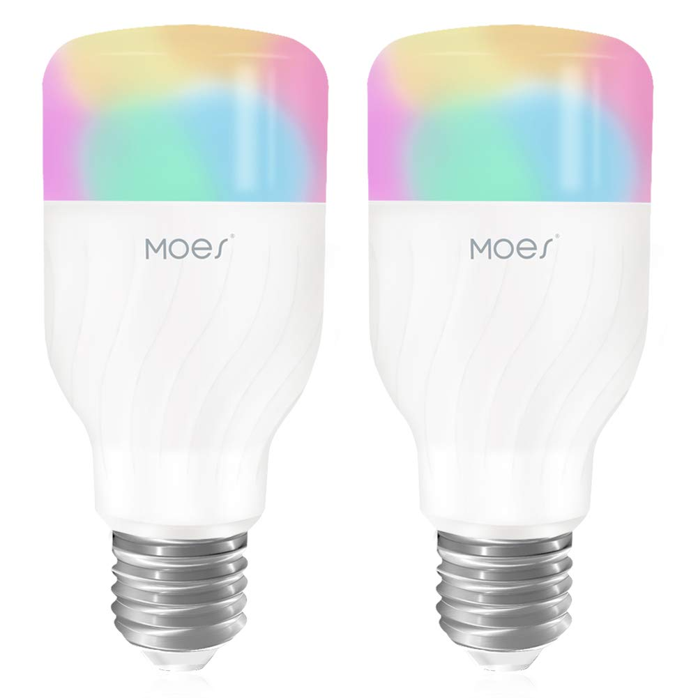MOES WiFi Smart LED Light Bulb Dimmable Lamp 60W Equivalent,7W RGB Color Changing 2700K-6500K Warm White to Daylight,Compatible with Alexa Echo Google Home A19 E26 (2 Pack)