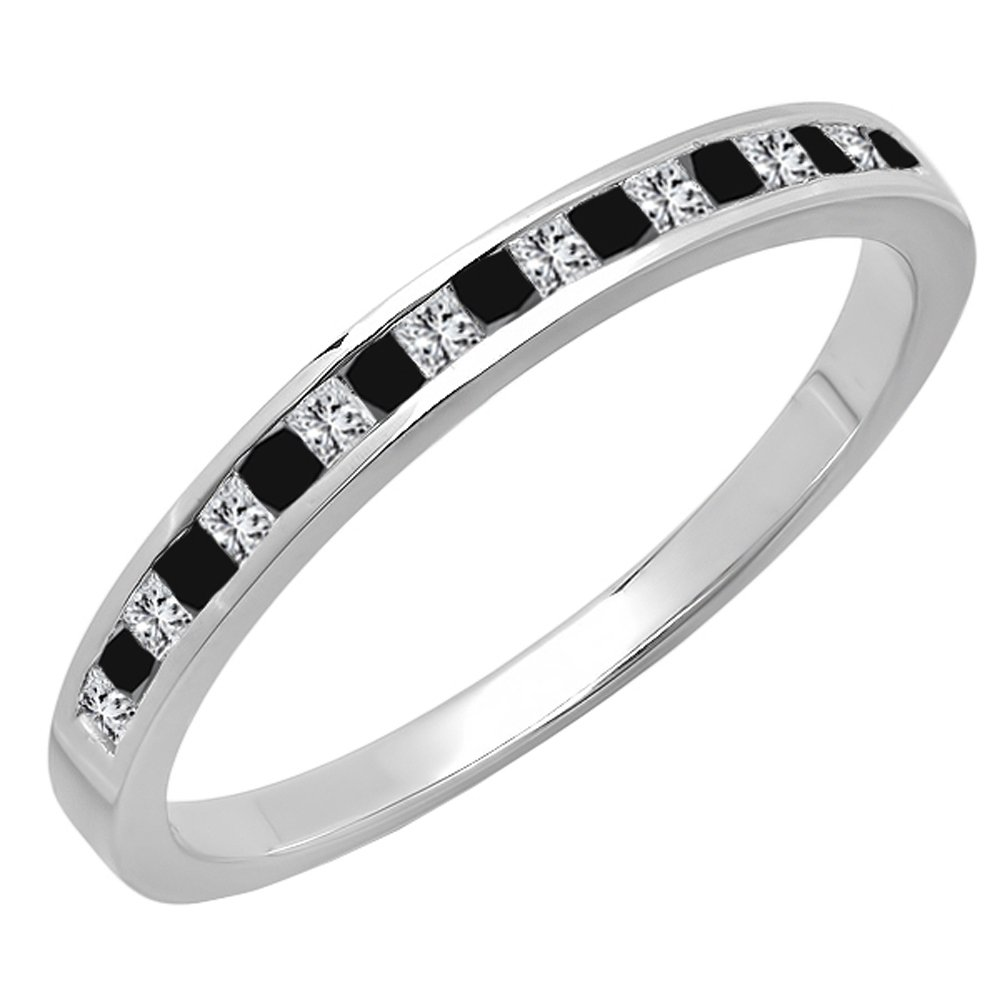 0.25 Carat (ctw) 14K Gold Princess Cut Black & White Diamond Ladies Wedding Stackable Band 1/4 CT