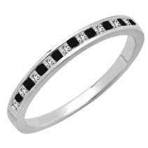 0.25 Carat (ctw) 14K Gold Princess Cut Black & White Diamond Ladies Wedding Stackable Band 1/4 CT