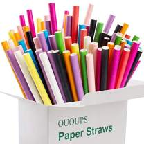 Paper Straws, Colorful Solid Color 100-Pack, 10 Bright Colors Biodegradable Disposable Straws for Soda, Cocktails, Great for Birthday Parties Decorations, Bridal Showers, Cake Pop Sticks, Ououps…