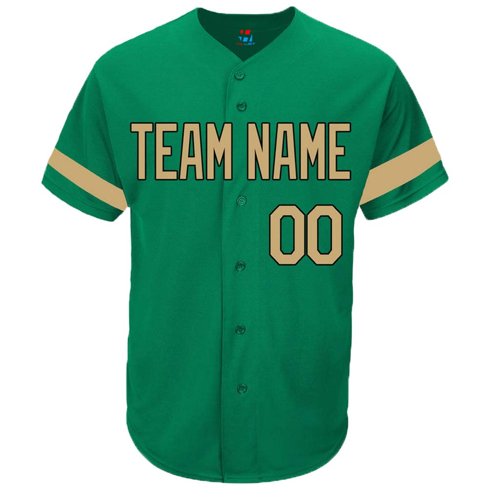 Pullonsy Kelly Green Custom Baseball Jersey for Men Women Youth Authentic Sewn Player Name & Numbers S-8XL - Design Your Own