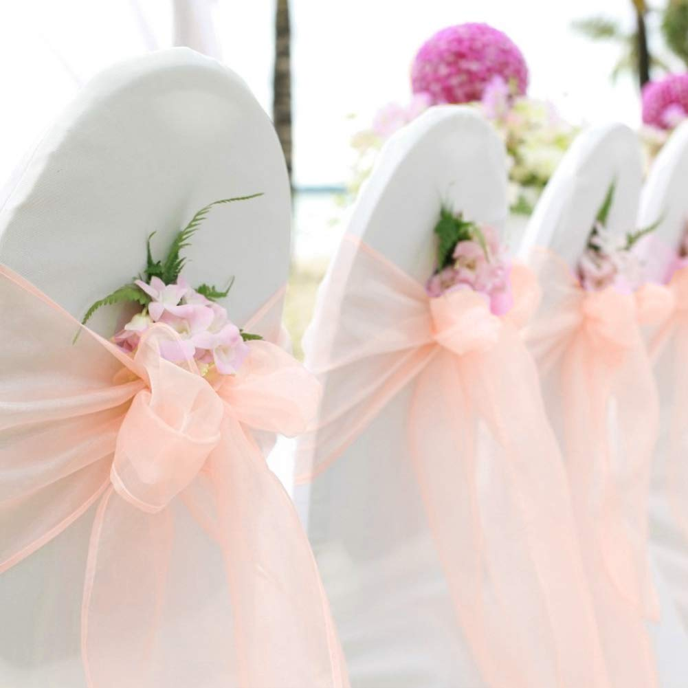 BIT.Fly 50 Pcs Organza Chair Sashes for Wedding Decoration Banquet Party Event Supplies Chair Bows Ties Chair Cover Bands - Peach